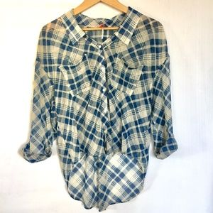 Free People sheer blue plaid high low blouse sz S